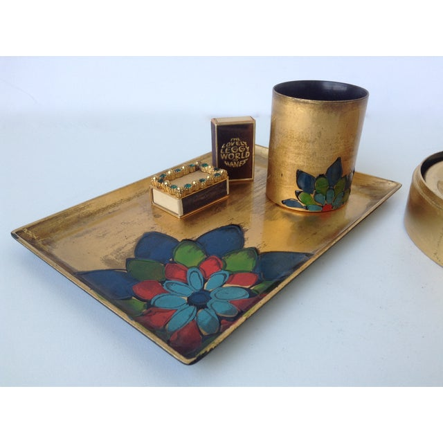 Gold Leaf Lacquered Smoke & Coaster Set For Sale - Image 5 of 11