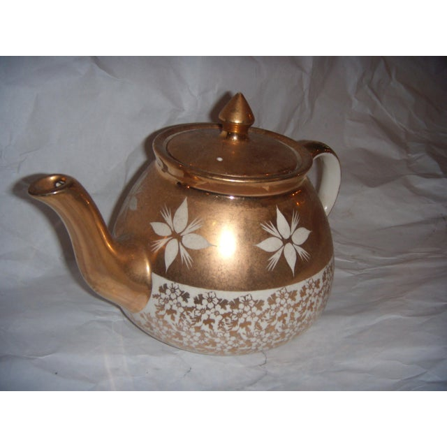 Mid-Century Modern White & Gold China Teapot For Sale - Image 3 of 8