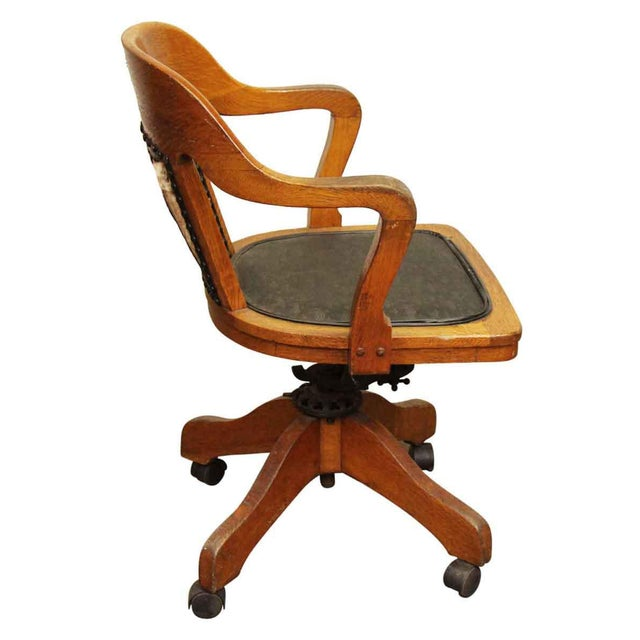 Wooden Rolling Desk Chair with Vinyl
