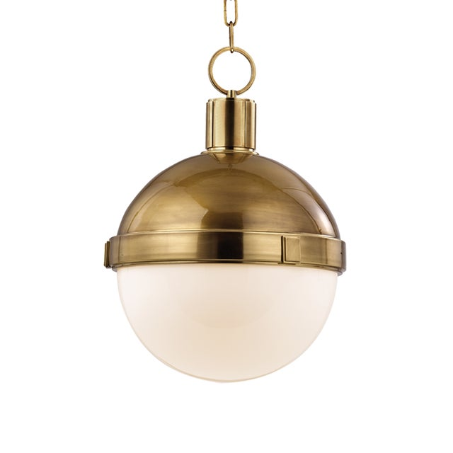 Industrial Lambert 1 Light Pendant - Aged Brass For Sale - Image 3 of 3