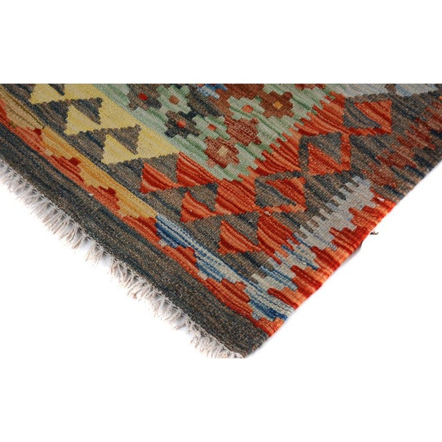 Boho Chic Arya Rickie Blue/Orange Wool Kilim Rug - 4'10 X 6'9 A9368 For Sale - Image 3 of 7