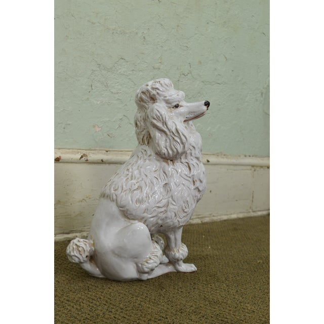 Ceramic Italian Pottery Vintage White Ceramic Poodle Dog Statue (A) For Sale - Image 7 of 13