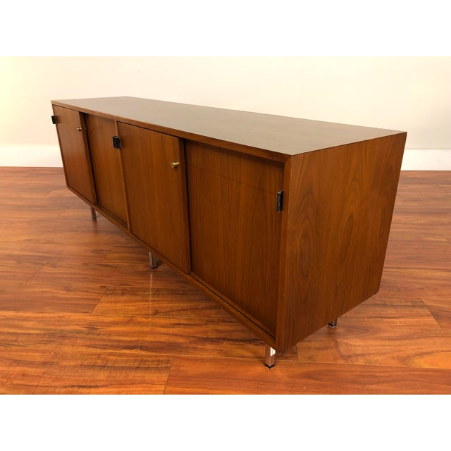 Florence Knoll Vintage Walnut 4 Position Credenza - Circa 1960s For Sale - Image 9 of 11