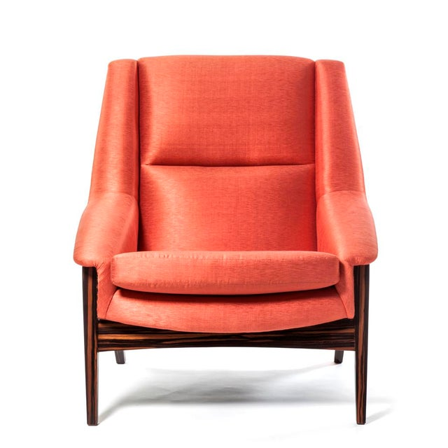 Orange Silk Upholstered Armchair For Sale - Image 13 of 13