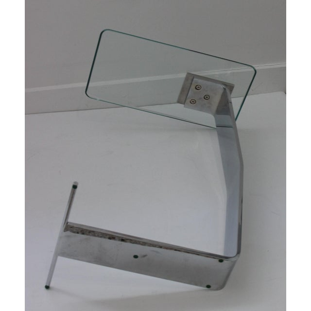 Side Table Satin Steel Polished Steel Glass in Style of Dia For Sale - Image 10 of 13