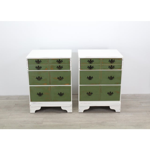 Pair of Mid Century 3-drawer Provincial Nightstands with metal hardware This pair of nightstands is nicely painted in a...