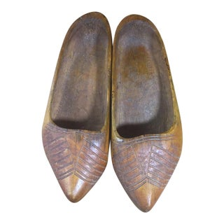 Hand-Carved Wooden Shoes For Sale