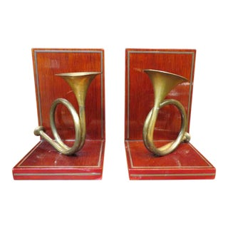 1980s Vintage Brass French Horn and Wood Bookends - a Pair For Sale