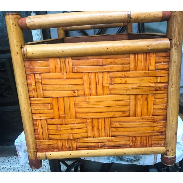 Wood Vintage Handmade Woven Reed Cane & Rattan Basket For Sale - Image 7 of 10