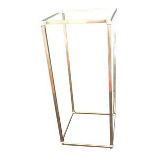 Vintage Polished Brass Square Drinks Table/Pedestal For Sale