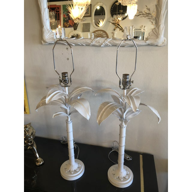 Vintage Hollywood Regency White Lacquered Chrome Lucite Palm Tree Table Lamps - A Pair For Sale - Image 11 of 13