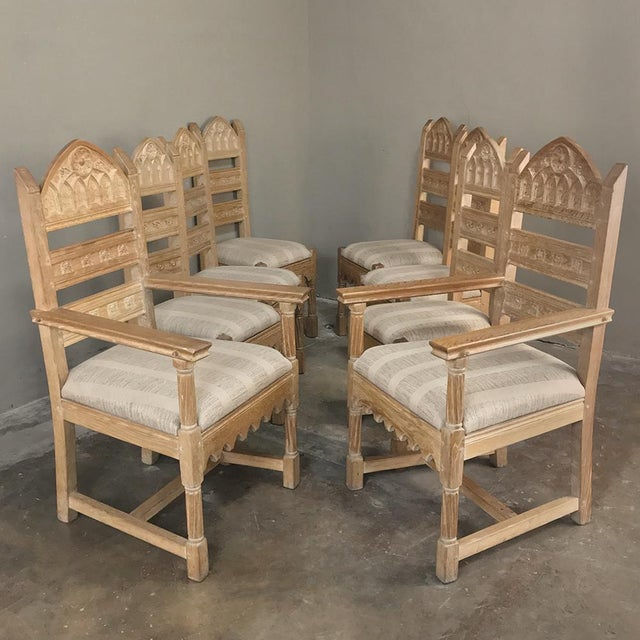 Gothic Set of 8 Antique Gothic Dining Chairs Includes 2 Armchairs For Sale - Image 3 of 13