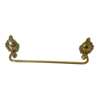 Vintage Mid Century Brass Brass Plate Floral Wreath Design Towel Rack For Sale