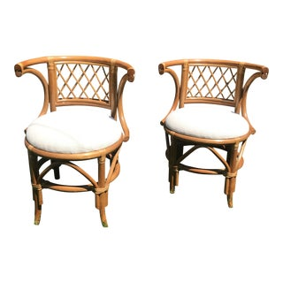 Pair of Vintage Ficks Reed Style Rattan Bamboo Chairs For Sale
