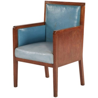 Art Deco Wooden Armchair Upholstered in Blue Leather From France For Sale