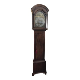 Antique Mahogany Brass Face Grandfather Clock For Sale