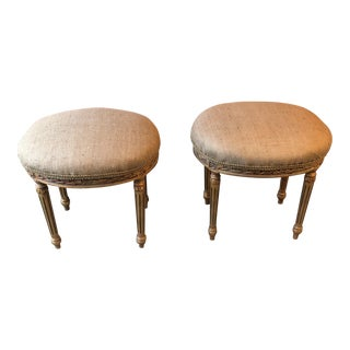 French Louis XV Neoclassical Stools - A Pair For Sale