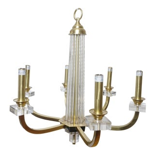 Modern History 6-Light Lucite and Brass Warhol Chandelier For Sale