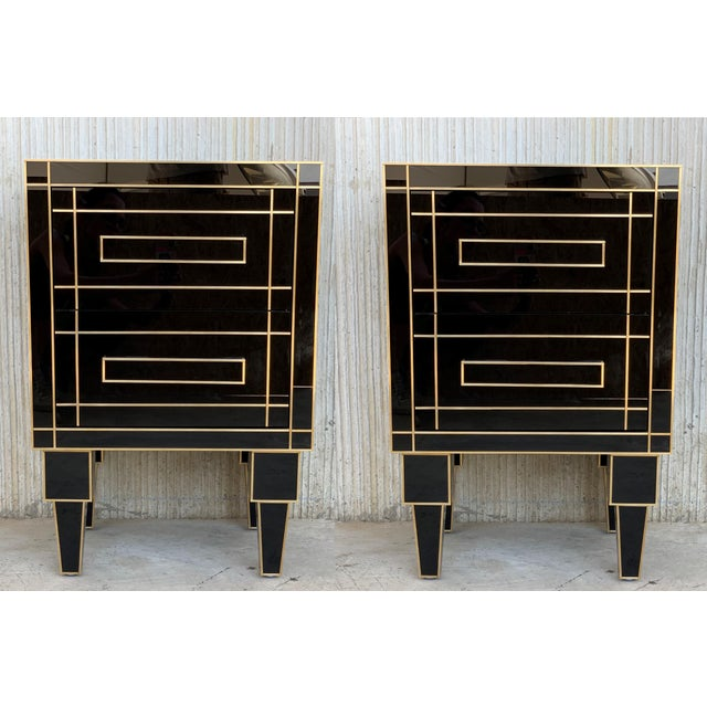 New Pair of Mirrored Nightstands in Black Mirror With Two Drawers For Sale - Image 13 of 13