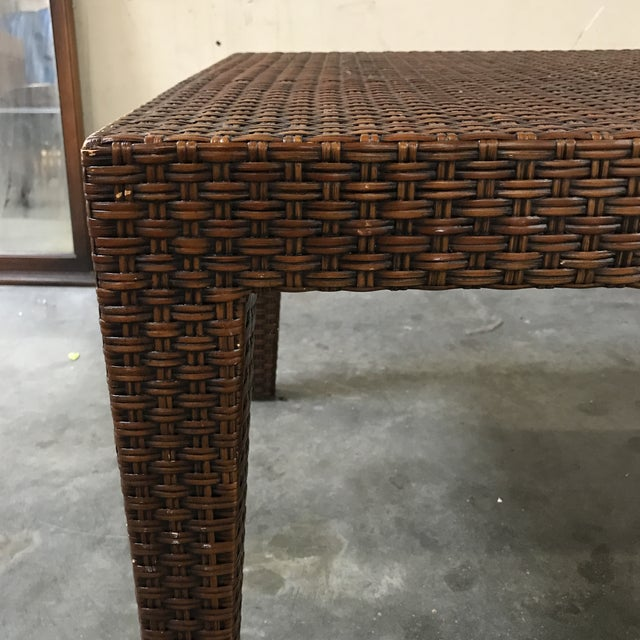Boho Chic Vintage Mitchell Gold + Bob Williams Wicker Coffee Table For Sale - Image 3 of 8