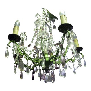 Vintage French Painted Metal Five Light Chandelier With Amethyst and Clear Crystals For Sale