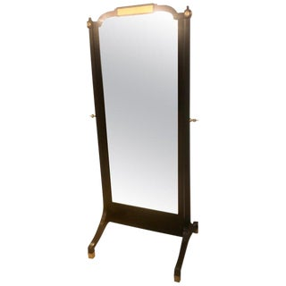 Jansen Fashioned Chavel Ebonized Floor Chevel Mirror With Bronze Mounts For Sale