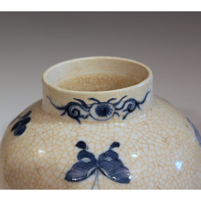Ceramic Antique 19th Double Circle Mark Chinese Blue & White Porcelain Jar Cover Vase For Sale - Image 7 of 12