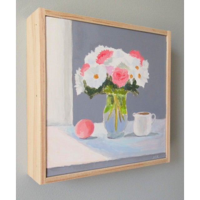 Impressionism Bouquet With Peach and Creamer by Anne Carrozza Remick For Sale - Image 3 of 6