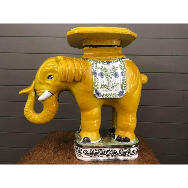 Hollywood Regency 1970s Hollywood Regency Yellow Ceramic Elephant Garden Stool For Sale - Image 3 of 12