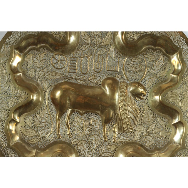 1950s Mid Century Anglo Raj Hanging Hammered Polished Brass Tray For Sale - Image 5 of 8