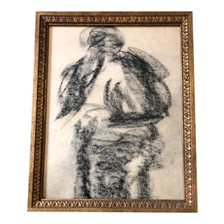 Original Vintage Abstract Figure Study Charcoal Drawing For Sale