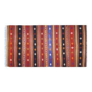 "Vintage Turkish Anatolian Hand Made Organic Wool Tribal Kilim,5'9""x11'3"" For Sale"