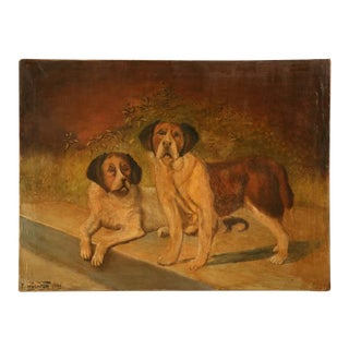 "Original ""Going to the Dogs"" Oil on Canvas signed & dated 1933 For Sale"
