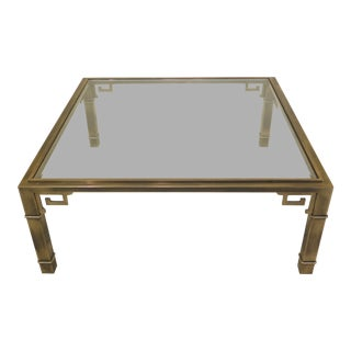 1970s Chippendale Style Solid Brass & Glass Coffee Table For Sale