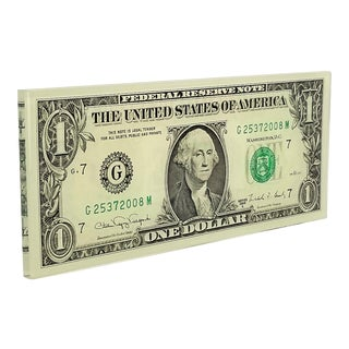 Pop Art Lucite Sculpture or Paperweight of Real American Dollar Bill- Dated 1988 For Sale