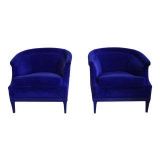 1950s Mid-Century Modern Blue Velvet Curve Back Side Chairs - a Pair