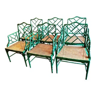 Chinese Chippendale Faux Bamboo Arm Chairs - Set of 6 For Sale