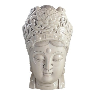 Chinese Blanc De Chine Quan Yin Goddess Head For Sale