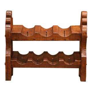 19th Century German Carved Oak Eight-Bottle Counter Wine Rack For Sale