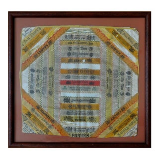 Framed Late 19th Century Silk Cigar Ribbon Band Pillow Top/Cover For Sale