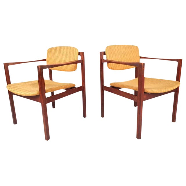 Magnificent Mid Century Modern Teak Arm Dining Chairs A Pair Bralicious Painted Fabric Chair Ideas Braliciousco
