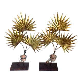 Metal Floral Pedestal Candle Holders - A Pair
