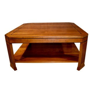 Vintage Stickley Solid Cherry Inlaid Square Coffee Table For Sale