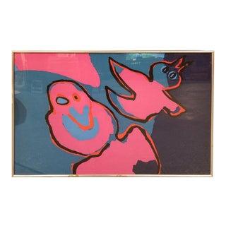 Karel Appel Abstract Graphic Silkscreen Print For Sale