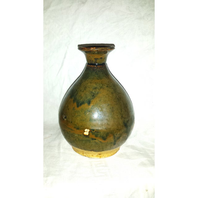 Chinese Antique Caramel-Glaze Chinese Clay Wine Saki Decanter For Sale - Image 3 of 7