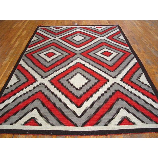 Red Navajo Style Wool Rug - 8′ × 10′ For Sale - Image 4 of 5