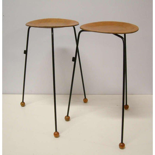 Tony Paul Tempo Group #800 Birch & Enameled Steel Stacking Tables - A Pair For Sale - Image 9 of 11