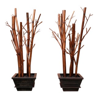 Impressive Huge Asian Modern Stylized Bamboo Studio Sculptures - A Pair For Sale