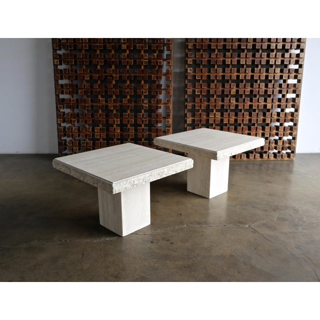 1980s Vintage Travertine Side Tables- A Pair For Sale - Image 13 of 13