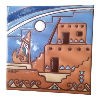 "1995 ""The Serenading Coyotes"" Decorative Terra Cotta Tile For Sale"